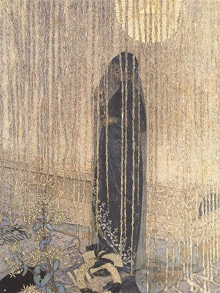shadesandshadows:   Jour de Morts (Day of Death) by Carlos Schwabe, German-born Swiss artist, 1866-1926.   Affected at a young age by the death of a friend, many of Schwabe's paintings are about pain and dying. The model here is his wife and, if we look closely, that is certainly Schwabe's tombstone.  Schwabe studied with Joseph Mitty in the Ecole des Arts Decoratifs in Paris and met Symbolist painters under whose influence his style began to form. He illustrated many books including the Jardin de l'infante by Albert Samain and Les Fleurs du Mal by Baudelaire.