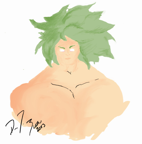 Really rough digital painting of Broly it took two weeks for me to sit down and take to some stage of completion. I really need a working space and not just set it up on my dinner table when I get home from work and Thursdays.