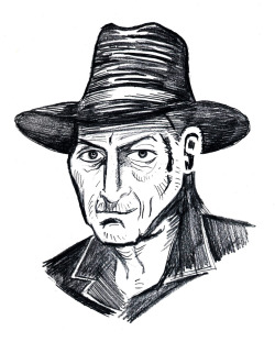 Quick pencil sketch portrait of Frank Miller.