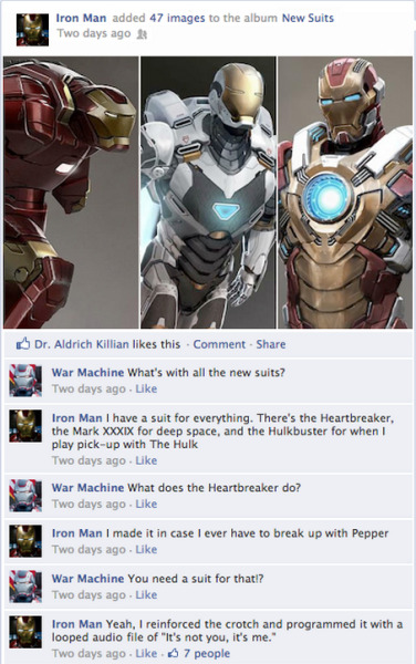 funnyordie:  Iron Man 3 on Facebook Your favorite Iron Man 3 characters are pretty busy — posting on Facebook. Read all their heroic threads!