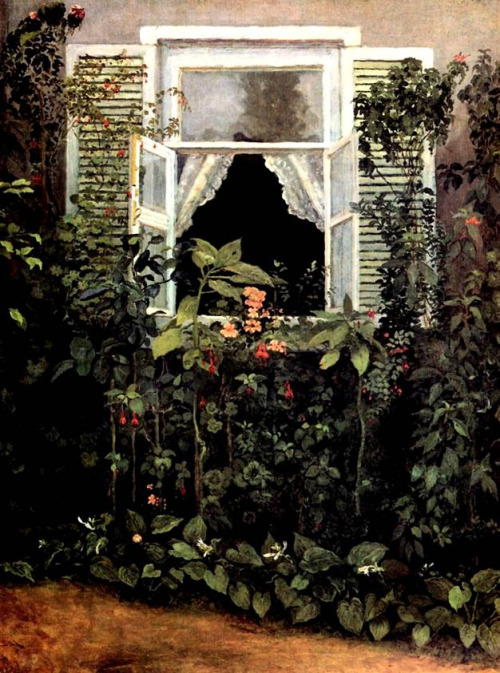catonhottinroof:  Victor Borisov-Musatov   The window  <small>anyone who could SHIT on command deserves the worst abuse the living can heap upon them</small>
