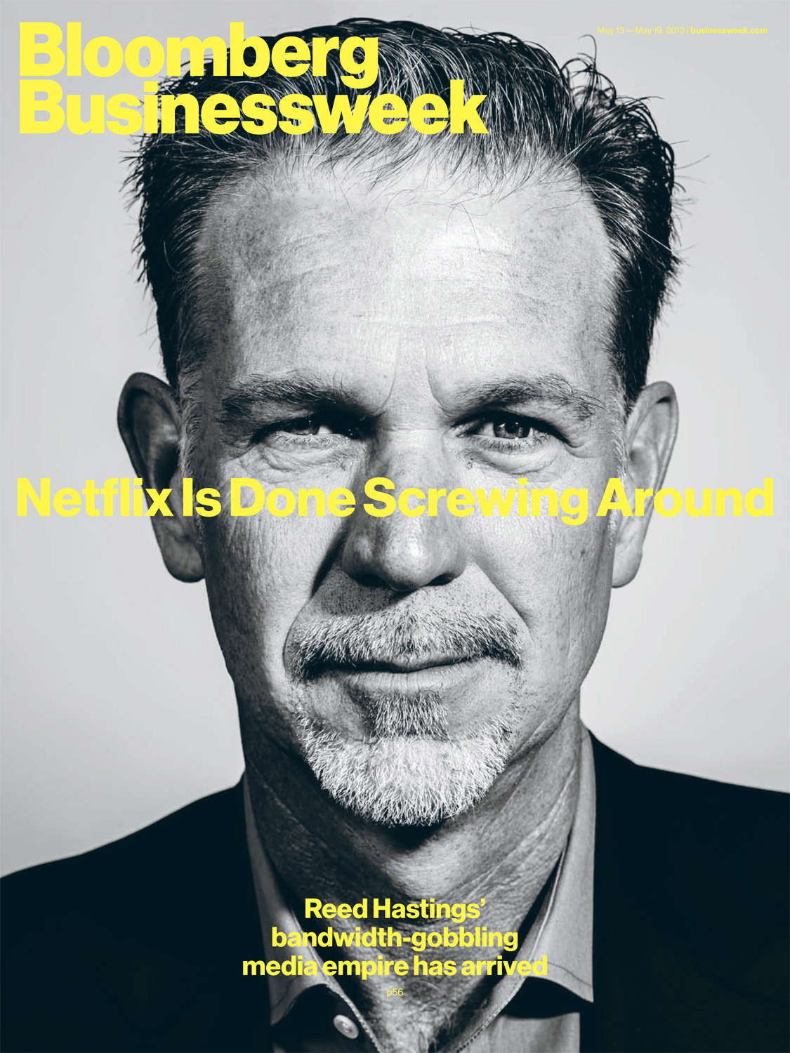 Reed Hastings, CEO and co-founder of Netflix, photographed for the cover of Bloomberg Businessweek, out today.
