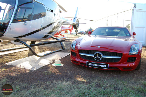 """I can fly too!"" Manufacturer: Mercedes-BenzMake: SLS AMGModel: ""Roadster""Location: 2013 Avalon International Airshow"