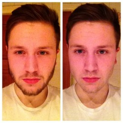 beard/no beard. before/after.