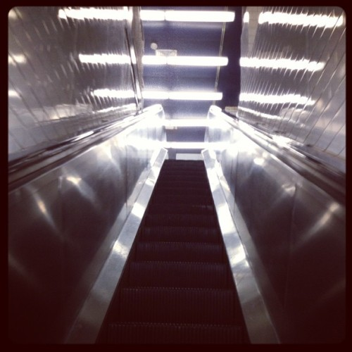 the only way is up. #nyc #escalator #instagram #iphoneography #steps #stairs  (at Port Authority Bus Terminal)