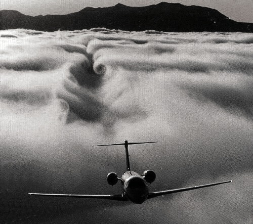 Wake turbulence is turbulence that forms behind an aircraft as it passes through the air. This turbulence includes various components, the most important of which are wingtip vortices and jetwash. Jetwash refers simply to the rapidly moving gases expelled from a jet engine; it is extremely turbulent, but of short duration. Wingtip vortices, on the other hand, are much more stable and can remain in the air for up to three minutes after the passage of an aircraft.
