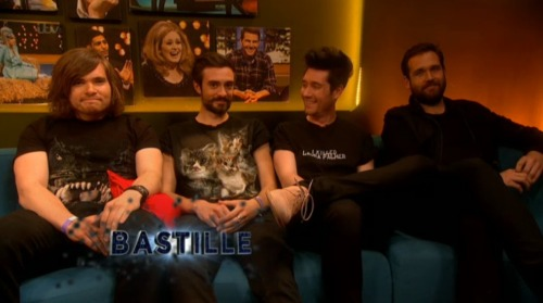 molliemarvell:  Bastille in the green room for Jonathon Ross