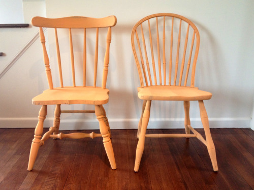 Fave color this spring! Pair of vintage chairs painted with Annie Sloan Chalk Paint in barcelona orange + pure white sold