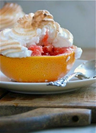 Baked Grapefruit with Meringue