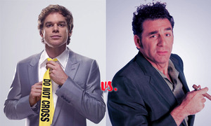 "Dexter Morgan Vs. Cosmo Kramer  March Madness: Character Crazy-Off  Ostensibly, Dexter Morgan and Cosmo Kramer have nothing in common. Sure they are both crazy, but in very, very different terms. Dexter is a ""triple digit kill count"" type of crazy, and Kramer is ""kooky uncle you can handle in doses"" crazy. But once you peel back some layers, these guys are more alike than they are different (bear with me). They share a proclivity for short sleeved button down silk shirts. They are both loners, entrepreneurs, and ""foodies"". Perhaps, the most significant trait they share, however is ""a code."" Both Dexter and Kramer know who they are.  They know what they stand for. And they live their lives based on a code, which at times may seem bizarre, immoral, or even dangerous… but they stick to it goddammit.  Read more and VOTE here:http://www.charactergrades.com/march-madness-2013-character-crazy-off/dexters-dexter-morgan-vs-seinfelds-cosmo-kramer"