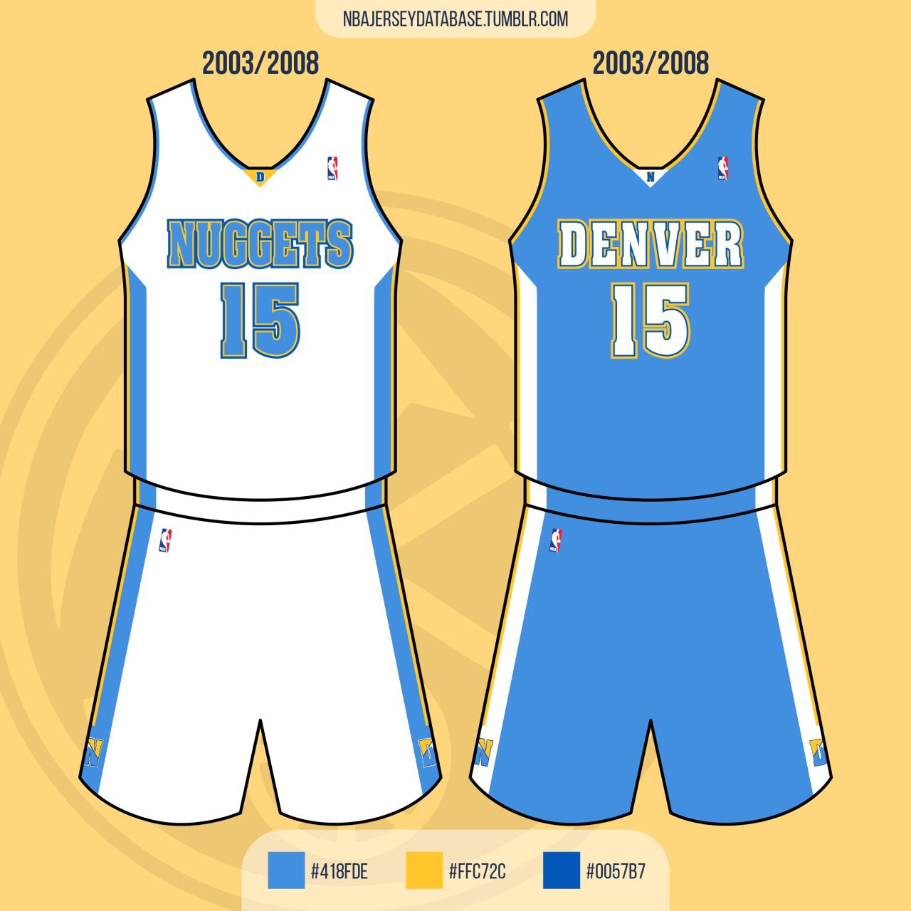 Denver Nuggets 2003-2008 Record: 231-179 (56%) #nba#basketball#jersey#Denver Nuggets