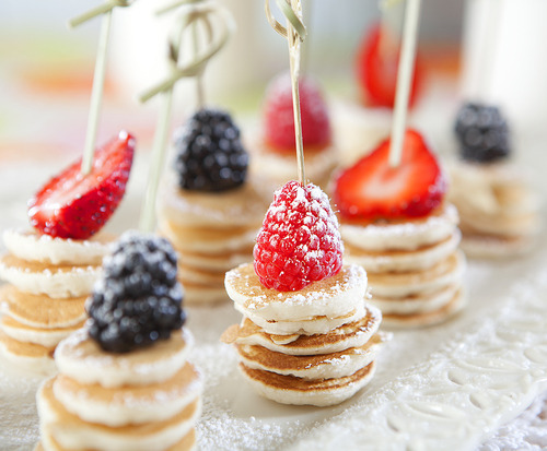 Pancake Coin Brochettes with Fresh Berries on We Heart It. http://weheartit.com/entry/62056800/via/RoniaSV