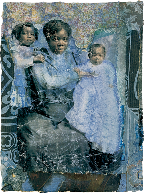 Happy Mother's Day! Betye Saar (b.1926), Mother and Children in Blue, 1998. Watercolor and mixed media collage on paper, 8 5/8 × 6 1/2 in. (21.9 × 16.5 cm) irregular. Whitney Museum of American Art, New York; purchase with funds from the Drawing Committee  2000.46. Permission courtesy of Michael Rosenfeld Gallery LLC, New York, N.Y.