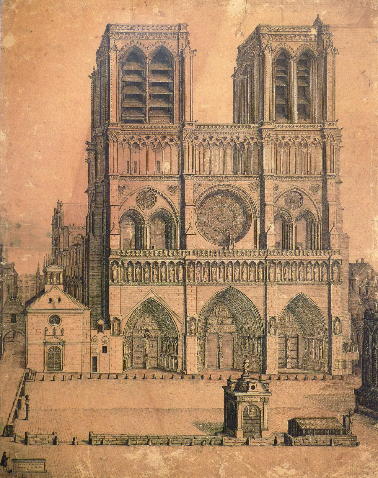 Antier's drawing of the Cathedral of Notre Dame in 1699, Paris