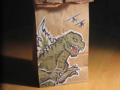 Lunch bag art godzilla