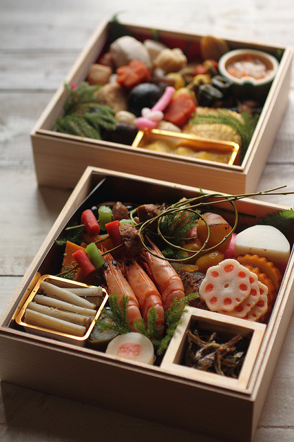 Osechi by bananagranola (busy) on Flickr. Via Flickr: These boxes for new year's table were delivered to our home from the restaurant in Kyoto. 36 kinds of beautiful traditional cuisine in the two boxes were very delicious.en.wikipedia.org/wiki/Osechi Happy new year!