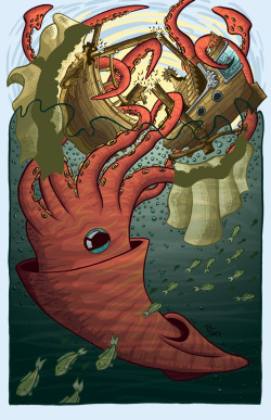 eatsleepdraw:  The Kraken Attacks Bryant LaMare 2013