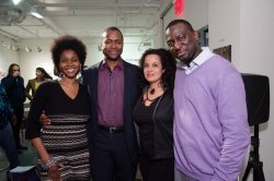 After The Central Park Five screening at Nieman Gallery in Harlem. With Omo Misha, Craig Schley and Yusef Salaam, one of the survivors, who is clearly thriving, of this horrible injustice.  PHOTO CREDIT: Greg Routt