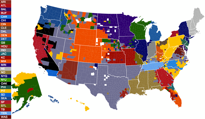 NFL Fans Mapped by Facebook