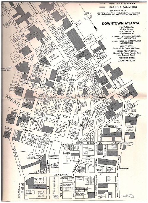 atlurbanist:  1949 map of downtown Atlanta Blogger electronicnonsense posted this great 1949 map of downtown Atlanta.