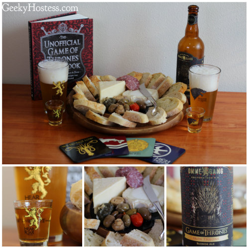 thedrunkenmoogle:  Game of Thrones Themed Party by The Geeky Hostess The fight for the Iron Throne continues this weekend as Game of Thrones returns to television! Tara from The Geeky Hostess, whom I had the pleasure of meeting last weekend at PAX East, has put together a great list of GoT themed items to spice up this Sunday's premier. The official GoT beer, named Iron Throne, is a blonde ale made by Brewery Ommegang and comes in a giant 750ml bottle. Also present is themed glassware and party food which you can prepare using the Game of Thrones cook book.  For more details on where to buy the above items and how to have your own Game of Thrones party, check out the full article on The Geeky Hostess.  let's do it.