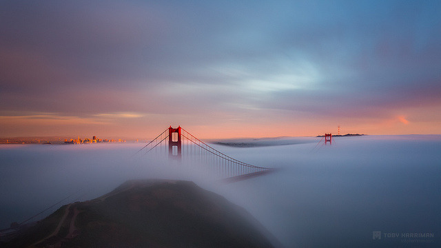 Just Another Day In The Bay on Flickr.Via Flickr: This afternoon Jameson and I noticed the fog rolling in and decided to treck up to Slackers Ridge to see what we can get. That hike as never been so terrible, now that I am carrying a track setup, which means two bags and over 40 pounds of gear. But man, it was so worth it! Here is my favorite shot from todays journey.  At around 8pm we couldn't see 5 feet in front of us so we headed out. We ran into Joe, Casey, Max and Rob at the top. They tell me its looking epic again so I might just have to head back over to Hawk Hill to get some night stuff. Shooting this scene really never gets old!Website | facebook | Google+ | Blog | Stipple