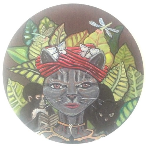 @jingerzhanger  's #cat #frida love child on round canvas 1 of 2 of 3 all together now