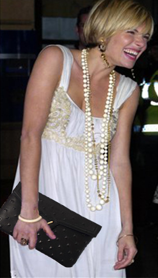 Sienna Miller Rocking our black studded MILCK clutch!