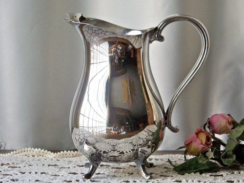 home & living water pitcher silver plate silver pitcher vintage pitcher juice pitcher classic pitcher footed pitcher