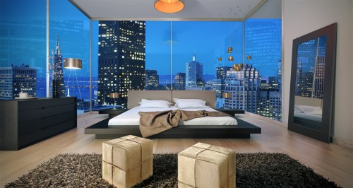 vjmodern:  Contemporary Worth Bed In Wenge Finish & Sand Leather Headboard W/ Night Stands