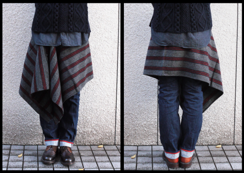 How to wear your (FWK) Engineered Garments Button Shawl.