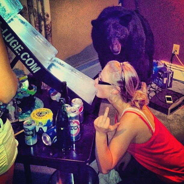the best part about this picture is the random stuffed bear we partied with all night lmao #tbt #throwback #summer #houseparty #iceluge