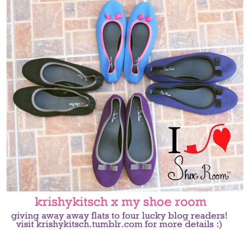 "krishykitsch:  New Giveaway: My Shoe Room flats I'll be giving away four pairs of flats (size 5, 6, 8 and 9!) from MY SHOE ROOM! Mechanics are easy but you have to do everything for your entries to be valid :) 1. Follow me/my blog and my Twitter (+2)2. LIKE MY SHOE ROOM'S PAGE ON FACEBOOK (+2)3. Like and reblog this post (+2)4. Tweet this: ""KrishyKitsch is giving away 4 pairs of flats ℅ #MyShoeRoom! @krpayong (insert giveaway URL here)"" (+3)5. Comment on my DISQUS with the ff: MY SHOE ROOM FLATS GIVEAWAY, full name, tweet URL (not your username), shoe size, and number of entries! Total entries: 9 entries/person But ofcourse I'll be giving away additional points! 1. If you have joined my other My Shoe Room giveaway, that's (+3) entries2. Upload the giveaway photo and post this as your Facebook status: ""KrishyKitsch is giving away 3 bags ℅ SHOE ROOM! (Insert giveaway URL here)"" (+4) Easy, peasy! Note: Please set your Twitter (and Facebook) account on public as I won't able to read your mentions and tags if you have a private account. For Philippine residents only. Follow all the steps to qualify and no multiple entries on my Disqus! Deadline is on March 22, 2013! Winners will be chosen via random.org and will announce on my Twitter."