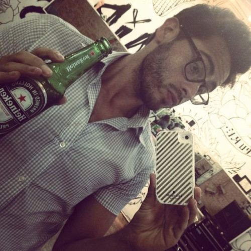 Cheers to you cutie ! :) #drinking #beer #heineken #scruff #latino #mexican #oakcliff #instagay