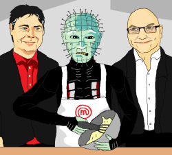 jimllpaintit:  Dear Jim, Please paint me Pinhead from Hellraiser getting flustered while on Celebrity Masterchef. Thanks, Bee Log