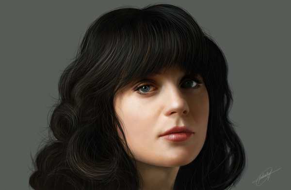 artforadults:  Zooey Deschanel by Isaiah Paul Cabanting