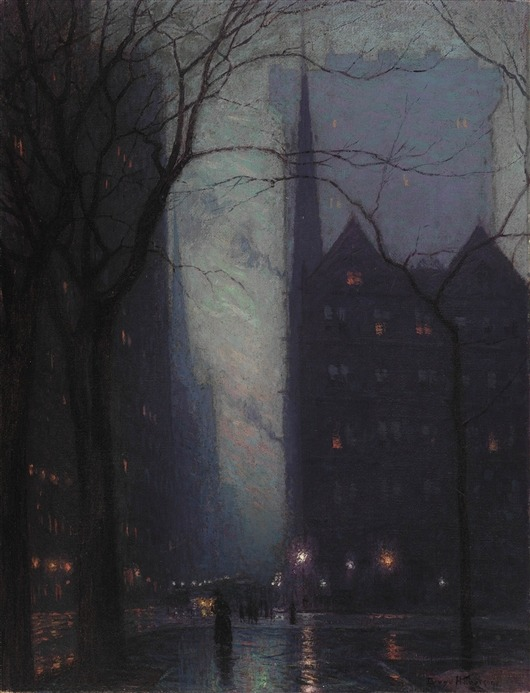 dawnawakened:  Fifth Avenue at Twilight, Oil on Canvas 1910  The late Birge Harrison was a distinguished American landscape painter from Philadelphia, PA (October 28, 1854 - 1929). He practiced the style of Tonalism, which became a prominent method between 1880 and 1915, dark, neutral hues such as gray, brown or blue, often dominated compositions by American artists. This style soon became eclipsed by impressionism.