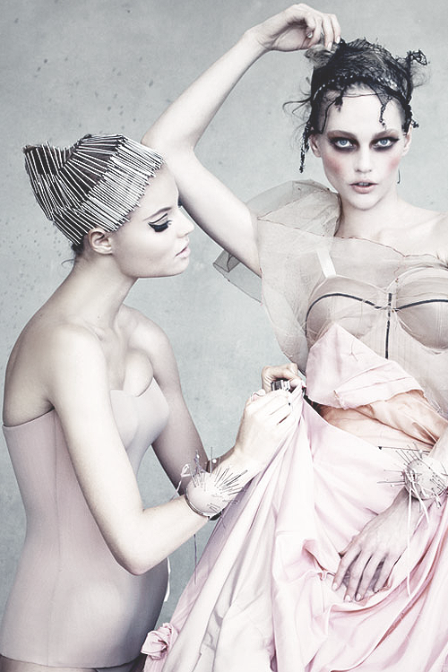 Magdalena Frackowiak and Sasha Pivovarova in Dior Couture by Patrick Demarchelier