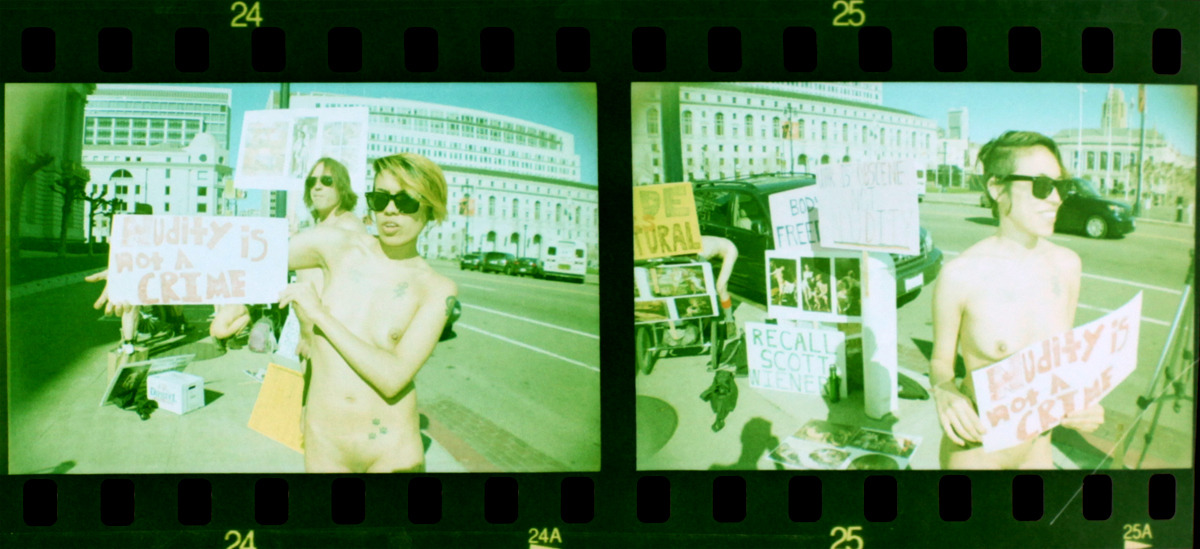 Nude Protest - San Francisco - Camera : La Sardina negative 35mm Photo by Moses http://photosbymoses.tumblr.com/  Video http://vimeo.com/58933006