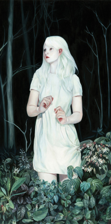 "rfmmsd:  Artist & Illustrator: Joanne Nam  ""White Forest"" Oil on Wood Panel 12"" x 24"""
