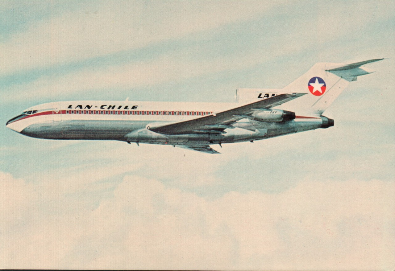 airplanepostcards:  LAN-Chile Boeing 727 (airline-issued)