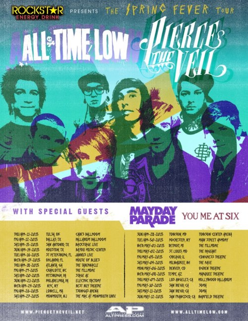 YOU ME AT SIX JOINS MAYDAY PARADE AS SPECIAL GUESTS AT ALL TIME LOW AND PIECE THE VEIL US SPRING TOUR Presented by Rockstar Energy Drink, pre-sale tickets will be on January 8th, at 10am PT / 1pm ET & general tickets will go on sale Friday, January 11th, at 5pm PT / 8pm ET. piercetheveiltix.com