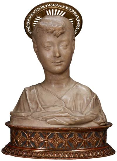 centuriespast:  Antonio Rossellino (Italian, 1427–1478)Bust of the Christ Child, ca. 1460–70Marble, with nineteenth-century metal halo The Morgan Library