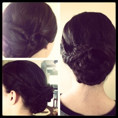 #picstitch Updo by me on my sweetest client, Katelin. Have fun at prom tonight! Pic doesn't do it justice. #hair