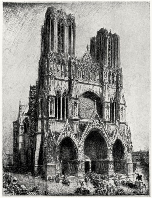 oldbookillustrations:  Reims Cathedral. Auguste Lepère, from Prints and their makers, by Fitzroy Carrington, London, 1913. (Source: archive.org)