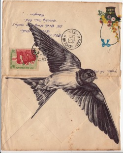 markpowellartist:  Bic biro drawing on a 1972 Vietnamese envelope.