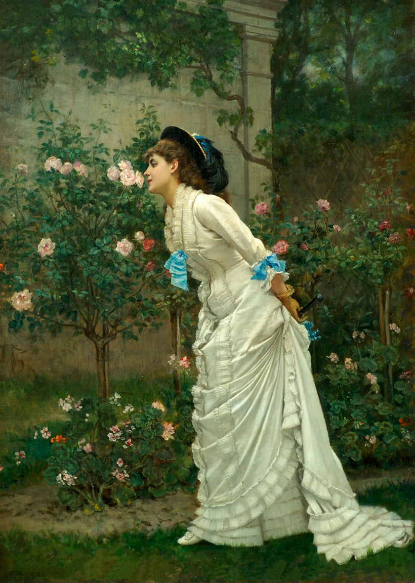 "the-garden-of-delights:  ""A Girl and Roses"" (1879) by Auguste Toulmouche (1829-1910)."