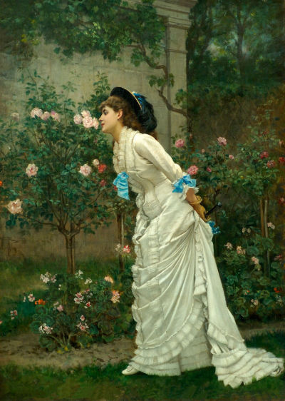 dipot:  Auguste Toulmouche: A Girl and Roses (1879)