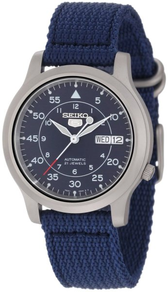 wantering:  Seiko 5 Automatic Blue Canvas Strap Watch