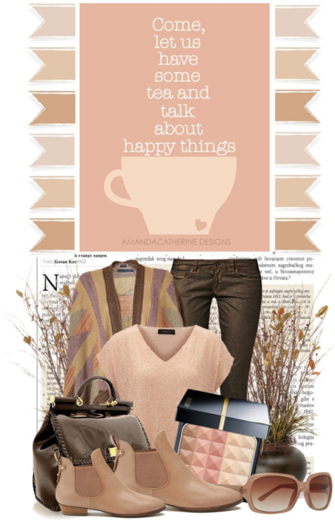talk about happy things….. by queenrachietemplateaddict featuring slim fit jeansPolo Ralph Lauren ralph lauren cardigan / SELECTED embellished top, $105 / Mavi Jeans slim fit jeans, $67 / Witchery low boots, $210 / Dolce & Gabbana brown tote bag, $1,720 / Max Studio  / Face powder